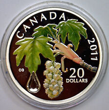 CANADA 2011 Color $20 Fine Silver Maple Leaf w/Swarovski Crystal Raindrop