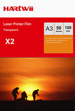 100 Sheets Overhead Projector Film OHP Acetate A3 Black White Laser Hartwii AU