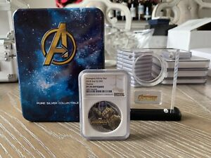 2018 MARVEL AVENGERS: INFINITY WAR - THANOS 2 OZ. SILVER COIN NGC PF70 ANTIQUED