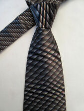 TIE RACK FRANGI PADDED BROWN STRIPED 3.25 INCH SILK NECK TIE