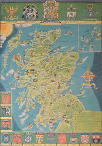VINTAGE TANGLEWOOD LIBRARY 1117-PIECE WOODEN JIGSAW PUZZLE. MAP & ARMS SCOTLAND