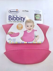 Summer Infant Adjustable Bibbity Silicone Rinse and Roll Portable Bib Pink New