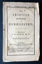 1852 American Journal of Homeopathy edited S R Kirby MD Homeopathic Advertising