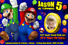 SUPER MARIO BROS BIRTHDAY PARTY INVITATION PHOTO BROTHERS CUSTOM 1ST - C3