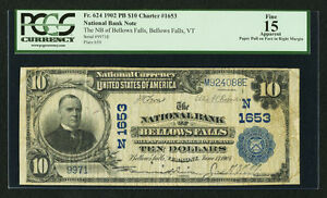 1902  $10 - Plain Back Fr. 624 The NB of Bellows Falls - VT- Charter #1653