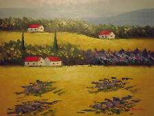 CAMPAGNA PAESAGGIO Alberi Campo Grande dipinto a Olio Su Tela Contemporaneo Moderno