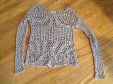 Hollister SWEATER Woman XS gray Macrame loose knit Gray Betty's Gorgeous