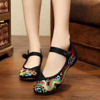 Women Lady Soft Chinese Embroidered Lucky Dragon Ballerina Mary Jane Flat Shoes