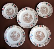 5 Anciennes Assiettes décor Pagode Chine Japon - Tampon Aigle Faïence Extra