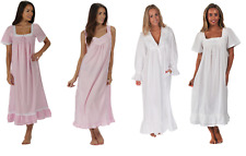 Womens 100% cotton nightdress White Pink ladies nightie NEW -  ON SALE