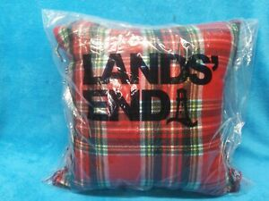 """Lands' End CHRISTMAS Paid Red Green  Pillow 18"""" x 18"""" new with tags"""