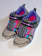 NEW! Skechers Youth Girls Glitter Time Strap On Shoes Blk/Multi l81321 Size 12