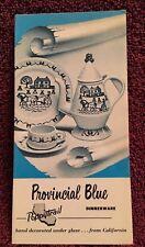 Metlox Poppytrail PROVINCIAL BLUE Open Stock Dinnerware Brochure 1961