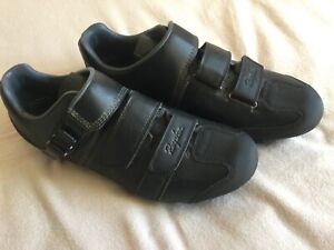 Rapha Black Leather 'Cross' Bike Shoes, Carbon Sole,  Size 43, 8.5