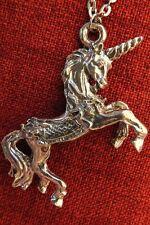 Unicorn Pendant Large Pewter Stainless Steel Chain Horse Myth Magic Celtic
