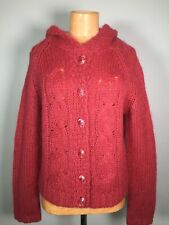 Anthropologie Sleeping On Snow Hooded Cardigan Sweater Mohair Blend Buttons Sz L
