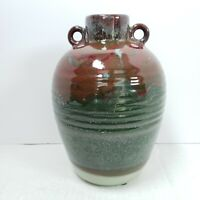 "Art Pottery Jug Vase Ceramic Glazed Green Coral Red Brown 10.25"" Modern Decor"