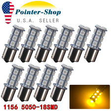 10x Amber/Yellow 1156 5050 18-SMD LED Light Bulbs Turn Signal 1003 1141 7527