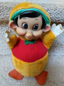 """Gund Gunderful Pinocchio Chime Plush Roly Poly Toy 1950s 8.5"""" Rubber Face Vtg"""