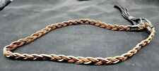 HATBAND Braided BROWN Basketweave with LEATHER Cord Tassels Cowboy Hat Band