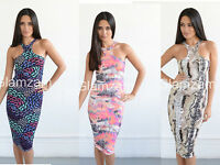 New Womens Ladies Cut Out Celeb Racer Back Pencil Midi Bodycon Print Party Dress