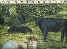Springs ~ Realistic Black ANGUS Beef COWS ~ 100% Cotton Quilt Fabric BTY