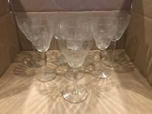 Set Of (8) Antique Glass Wine Glasses - Etched Wheat & Stars Pattern