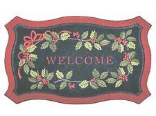 Holly Welcome Winter Door Mat Rug Recycled Rubber All-Weather 30x18 New