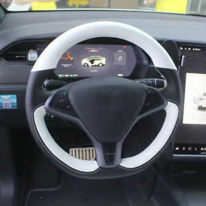 White Black leather DIY Steering Wheel Cover for Tesla Model X Model S