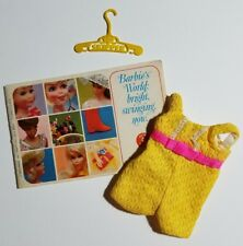 1970 Vintage Barbie: Skipper #1975 Sunny Suity Yellow Romper HTF + Hangar & Book