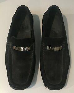 Bruno Magli black suede slip-on men's loafers w/silver buckle, size 10.5M