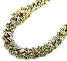 "7.20ct 9mm 9.25"" 42gr Mens 10k Yellow Real Gold Cuban Miami Diamond Bracelet"