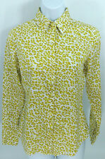 NEW YORK & CO Womens Shirt Blouse Size X-Small Green White Leopard Print Button