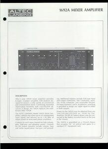 Original Factory Altec Lansing 1692A Six-Input Mixer Amplifier Owner's Manual