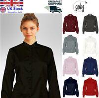 Women/Ladies Office Formal Long Sleeves Chinese Collar Blouse Shirt Plus Sizes