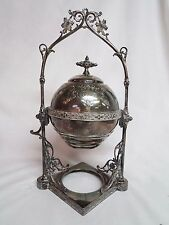 GORGEOUS! VICTORIAN MECHANICAL ROLLING DOME BUTTERFLY BUTTER/CAVIAR DISH