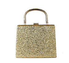 Glitter Evening Clutch Bag/ Bridal Party Purse Handbag With Handle for Women Gold