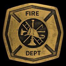 Vtg 80s Fire Department Fireman Firefighter Badge Logo Emblem Brass Belt Buckle