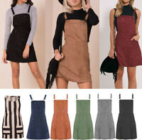 New Ladies Faux Suede Mini Pocket Pinafore Dungaree A-Line Skater Dress 6-18 UK