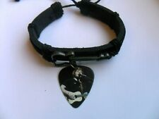 Ladies / Girls Guitar Charm Leather Adjustable Bracelet & ED SHEERAN   Pick