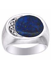 Lapis Lazuli & Diamond Ring set in Sterling Silver