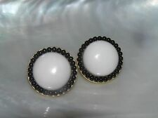 Estate Trifari Marked White Plastic Dome with Black Bead Rim Goldtone Clip Ear