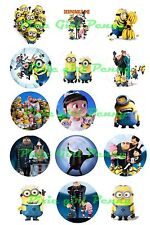 "15 Precut Despicable Me Minions 1"" Bottle Cap Images cup cakes jewelry jewelry"