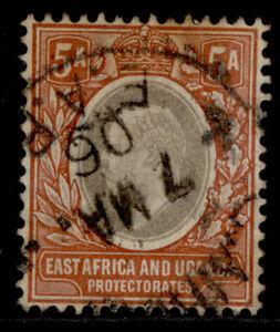 EAST AFRICA and UGANDA EDVII SG24, 5a grey & orange-brown, USED. Cat £15.