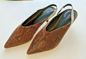M&S Brown Leather Snake Skin Embossed Autograph Shoes Sz 5 Slingbacks