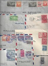 US COSTA RICA QUBA 1940's LARGE COLLECTION OF 24 AIR MAIL COVERS MOSTLY WAR TIME