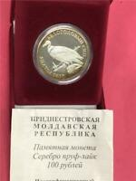 2005 Transnistria 'Eurasian Griffin Bird' .925 100 Rublei Proof OGP & COA