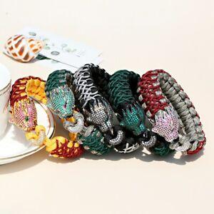 Fashion Men Women Leopard Silver Sapphire Hippie Braided Bracelet Bangles Gift