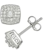 Diamond Cluster Stud Earrings, 1/10 ctw Pave in Sterling Silver, New in Gift Box