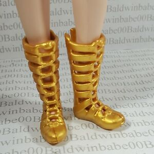 """SHOES ~BARBIE DOLL 9"""" LIL SISTER STACIE GOLD GLADIATOR SANDALS FITS MADE TO MOVE"""